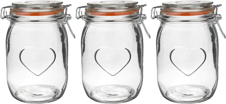 Junta Blanca Cristal 1/l Argon Tableware Juego de Botes de Cocina con Cierre herm/ético Pack de 6