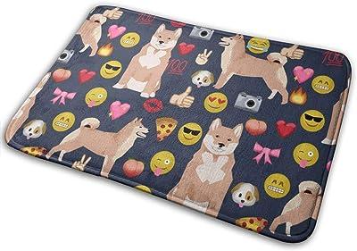 """Shiba Inu Emoji Dog Breed Emojis Dark_30464 Doormat Entrance Mat Floor Mat Rug Indoor/Outdoor/Front Door/Bathroom Mats Rubber Non Slip 23.6"""" X 15.8"""""""