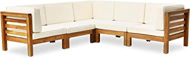 Great Deal Furniture Dawson Outdoor V-Shaped Sectional Sofa Set - 5-Seater - Acacia Wood - Outdoor Cushions - Teak and Beige