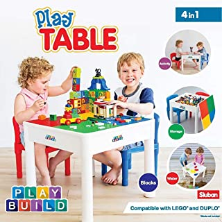 PlayBuild Kids 4 in 1 Play & Build Table Set for Indoor Activity, Outdoor Water Play, Toy Storage & Building Block Fun Includes 2 Toddler Chairs