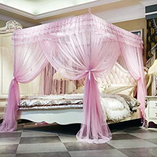 JQWUPUP Luxury Canopy Bed Curtains, Ruffle Princess 4 Corner Post Mosquito Net, Lace Bed Canopy for Girls Kids Toddlers Crib, Anti-Mosquito Bedroom Décor (Twin, Pink)