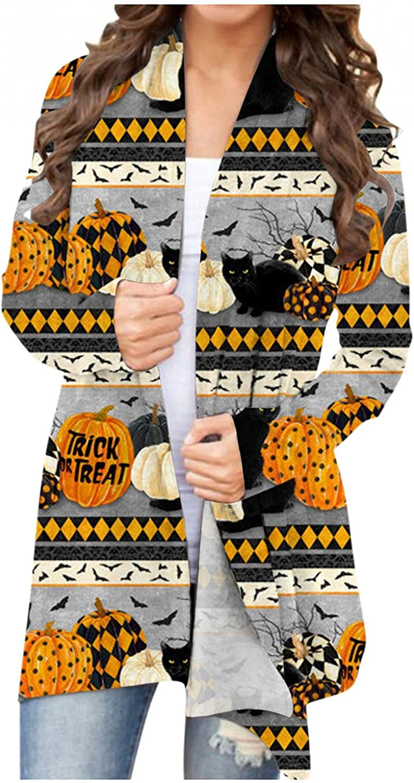 felwors Womens Halloween Cardigan, Womens Long Sleeve Open Front Funny Cute Pumpkin Cat Ghost Lightweight Coat Plus Size