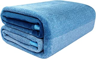 PICCOCASA Flannel Fleece Blanket Twin Size Soft Warm Fuzzy Microfiber Plush Blanket Lightweight Gradient Ombre Blankets for Bed or Couch/Sofa,59 inches x 88 inches,Sea Blue