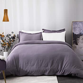 Bedsure Grayish Purple Duvet Cover Set with Zipper Closure, Washed Process Microfiber - Ultra Soft King Size(104x90 inches) -3 Pieces (1 Duvet Cover + 2 Pillow Shams)
