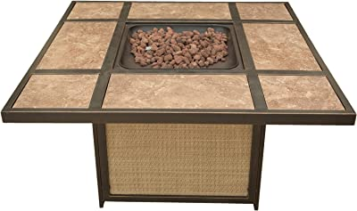 Hanover TRADTILE1PCFP Traditions Tile-Top Fire Pit Outdoor Furniture, Brown