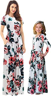 Mommy and Me Dresses Womens Summer Short Sleeve Boho Floral Maxi Dresses with Pockets