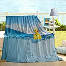 Mademai Rubber Duck Baby Blankets for Boys,Little Duckling Toy Swimming in Pond Pool Sea Sunny Day Floating on Water Print,Kids Blanket Blue Yellow 50