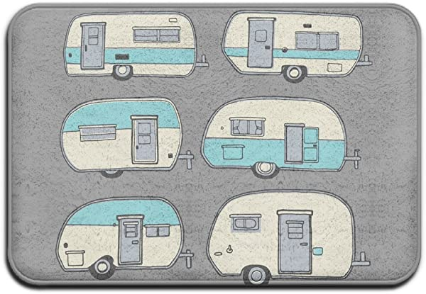 ZMvise Soft Non Slip Camper Doodles RV Van Cute Bath Mat Coral Rug Door Mat Entrance Rug Floor Mats For Front Outside Doors Entry Carpet 40 X 60 Cm