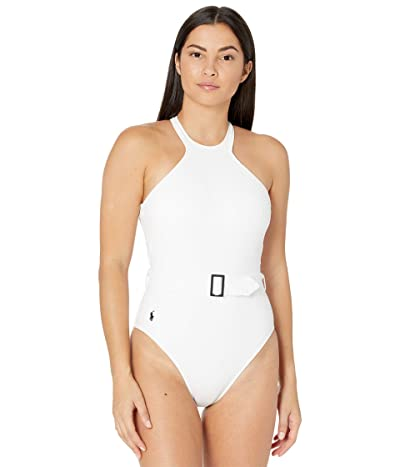 Polo Ralph Lauren Ribbed Solids High Neck Belted One-Piece