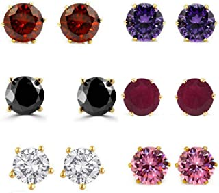 Archi Collection Women's Gold Plated CZ Solataire Stud Earring for Women (Multicolour, SS1_SS4_SS7_SS9_SS10_SS12)