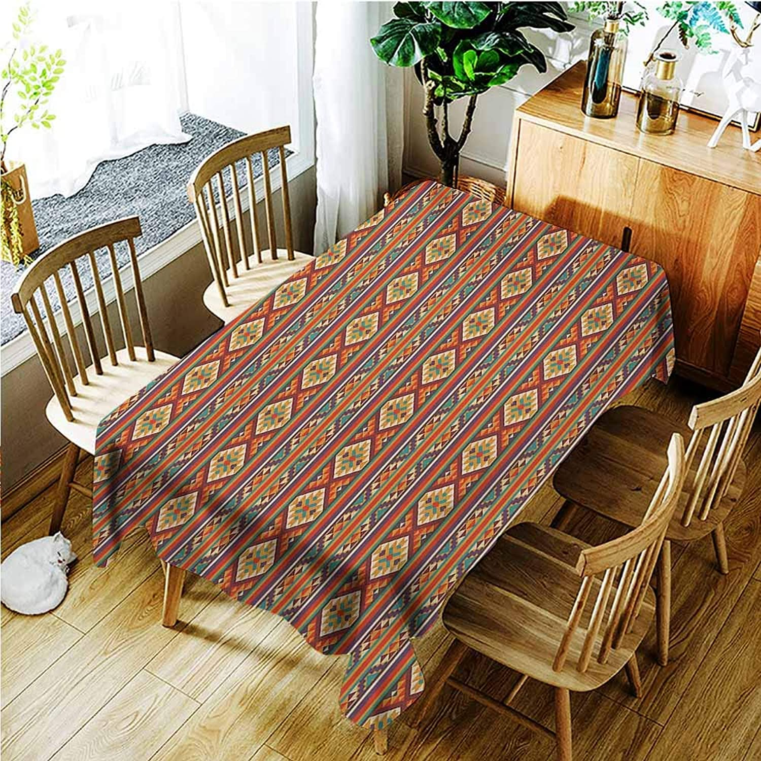 AndyTours Spill-Proof Table Cover,Native American Mosaic Inspired Horizontal Lines with Ethnic Graphic Figures Aztec Design,High-end Durable Creative Home,W60X102L,Multicolor