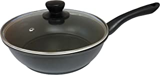 IMUSA USA CAR-50527 Carbon Steel Fry Pan with Glass Lid, 9.5-Inch, Black