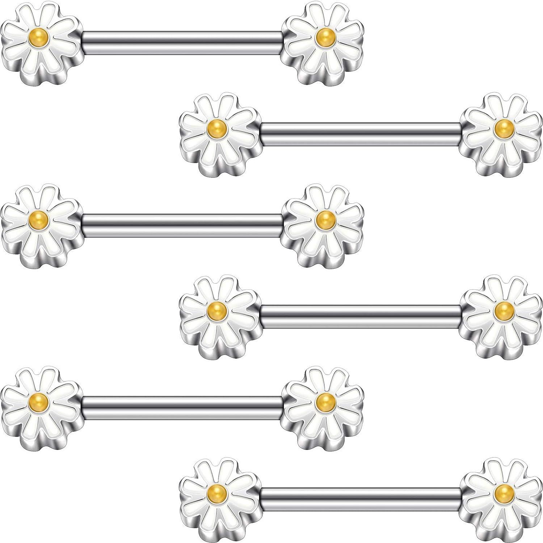 Hicarer 3 Pairs 14G Cute Daisy Flower Nipple Rings Stainless Steel Nipple Barbell Rings Body Piercing Jewelry for Women Girls Friend
