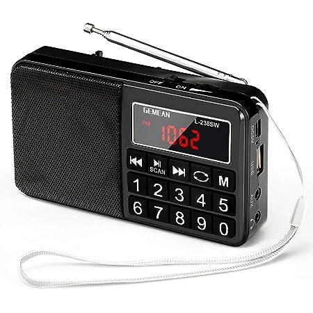 Gemean J-429SW ポータブル USB ラジオ ポケット 充電式 携帯 対応 ワイド FM AM (MW) 短波 by Gemean(L-238SW) (真っ黒)