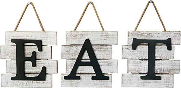 Barnyard Designs Eat Sign Wall Decor For Kitchen And Home Distressed White Rustic Farmhouse Country Decorative Wall Art 24 X 8