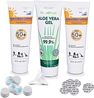 3-Pack LEAK-PROOF 9.7oz Secret Alcohol Flask Containers - Hidden Liquor Sunscreen & Aloe Vera Bottles - 30 Leak-Proof Seals - Easy-Pour Funnel - 6 FREE Resealable Water Bottle Caps