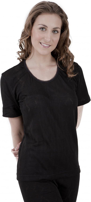 Universal Textiles Ladies Thermal Wear Short Sleeve T Shirt Polyviscose Range (British Made) (12-14) (Black)