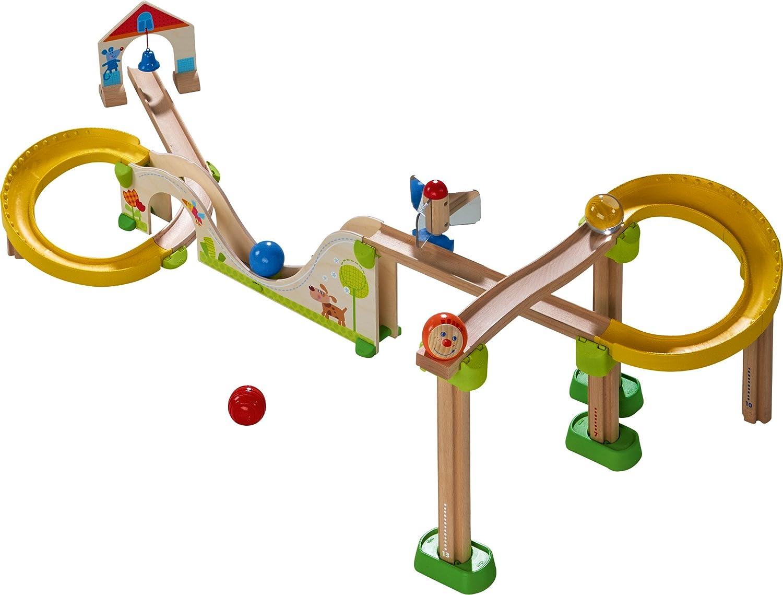 HABA 300436 - Kugelbahn Kullerbü - Berg und Talbahn, Holzkugelbahn mit vielen Hhen und Tiefen, Glckchen-Tor und Spiegelrad, Spielzeug ab 2 Jahren