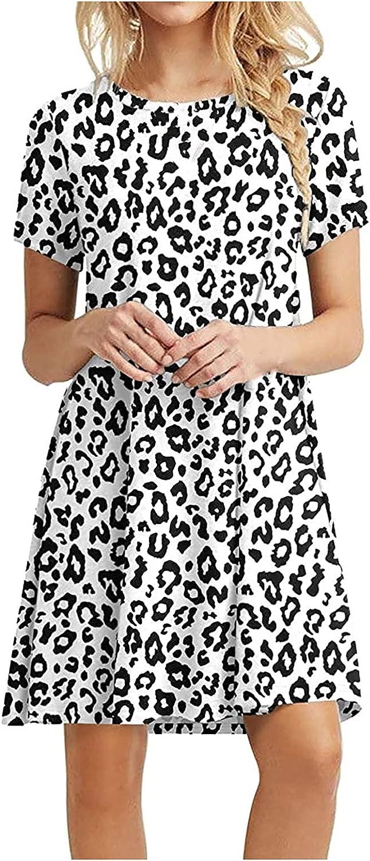 Amober Women's Skirt Knee-Length Skirt Printed Pattern Summer Casual Swing Dress