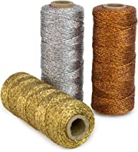 Ipalmay 100m Metallic Bakers Twine Spool 3-Ply for DIY Crafts Arts or Gift Wrapping 3 Pcs
