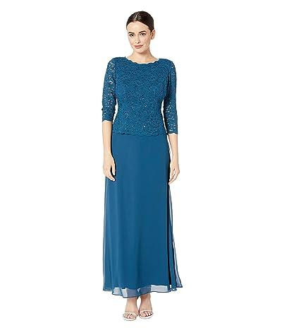 Alex Evenings Long Sequin Lace Mock Dress (Peacock) Women