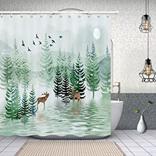 Nature Forest Landscape Safari Moose Shower Curtain Set, Polyester Fabric Rustic Watercolor Pine Tree Bird Forest with Wildlife Deer in Mountain Bathroom Curtains,Bath Curtain Sets with Hooks, 70X70in