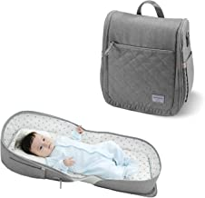 Baby Travel Bed & Tote/Borsa a Tracolla/Borsa a Tracolla Zaino 4 in 1, SUNVENO Baby Nest Bed Indoor & Outdoor, Lettino Portatile da Viaggio, 0-12 Mesi, Gris