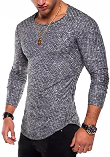 Men's Hipster Sweatshirt Swag Hip Hop Shirts O Neck Side Split Arc-Shaped Hem