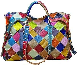 Segater® Damen Multicolor Einkaufstasche Rind Leder-Handtaschen Bunte Patchwork 2019 NEU TOP Bewertet Große Umhängetasche ...