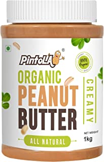 All Natural Organic Roasted Peanut Butter, Spread (Creamy) Unsweetened 1kg (35.27 OZ) By Pintola