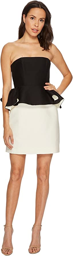 Halston Heritage - Strapless Color Block Dress w/ Peplum