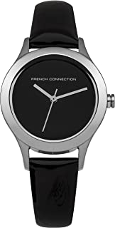 French Connection Women's Charlotte Stainless Steel Quartz Watch with Leather Strap, Black (Model: FC1206BA