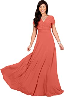 f381fa6204 KOH KOH Womens Sexy Cap Short Sleeve V-Neck Flowy Cocktail Gown