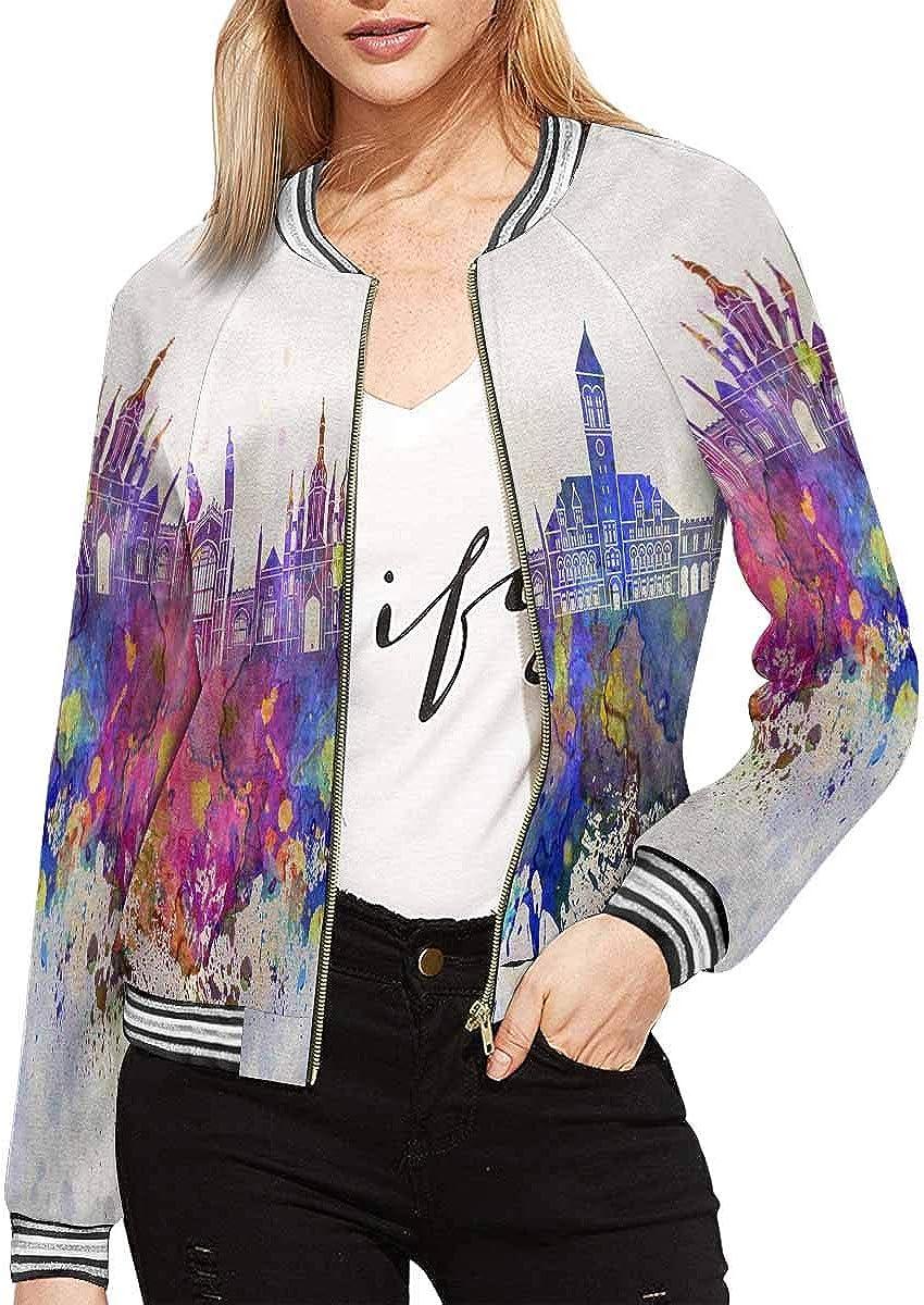 InterestPrint Women's Butterfly Mandala Jacket Zipper Coat Outwear