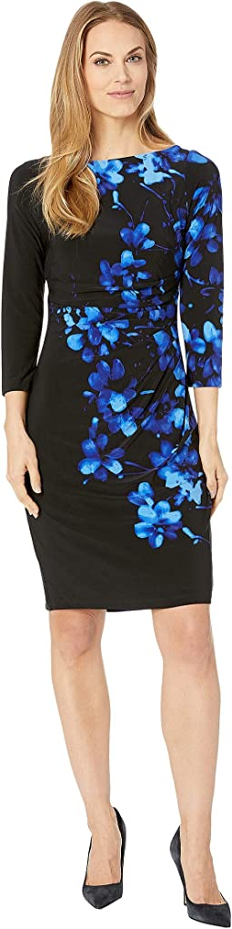Floral 3/4 Sleeve Jersey Dress