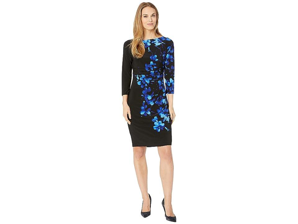 CHAPS Floral 3/4 Sleeve Jersey Dress (Black/Blue/Multi) Women