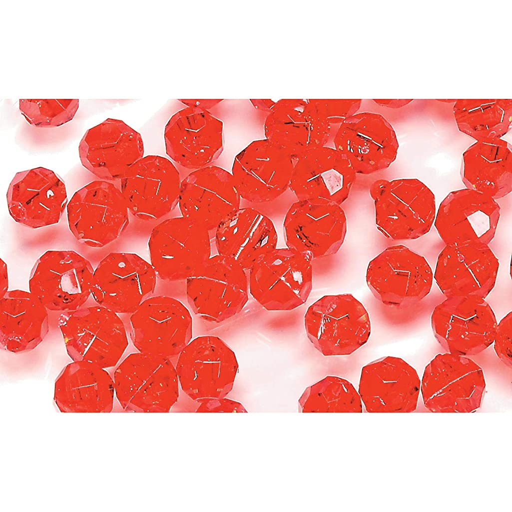 Bulk Buy: Darice DIY Crafts Faceted Plastic Beads Transparent Christmas Red 8mm 480 pieces (1-Pack) 06101-5-T19