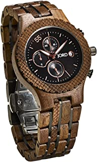 JORD Wooden Wrist Watches for Men - Conway Series Chronograph/Wood and Metal Watch Band/Wood Bezel/Analog Quartz Movement - Includes Wood Watch Box