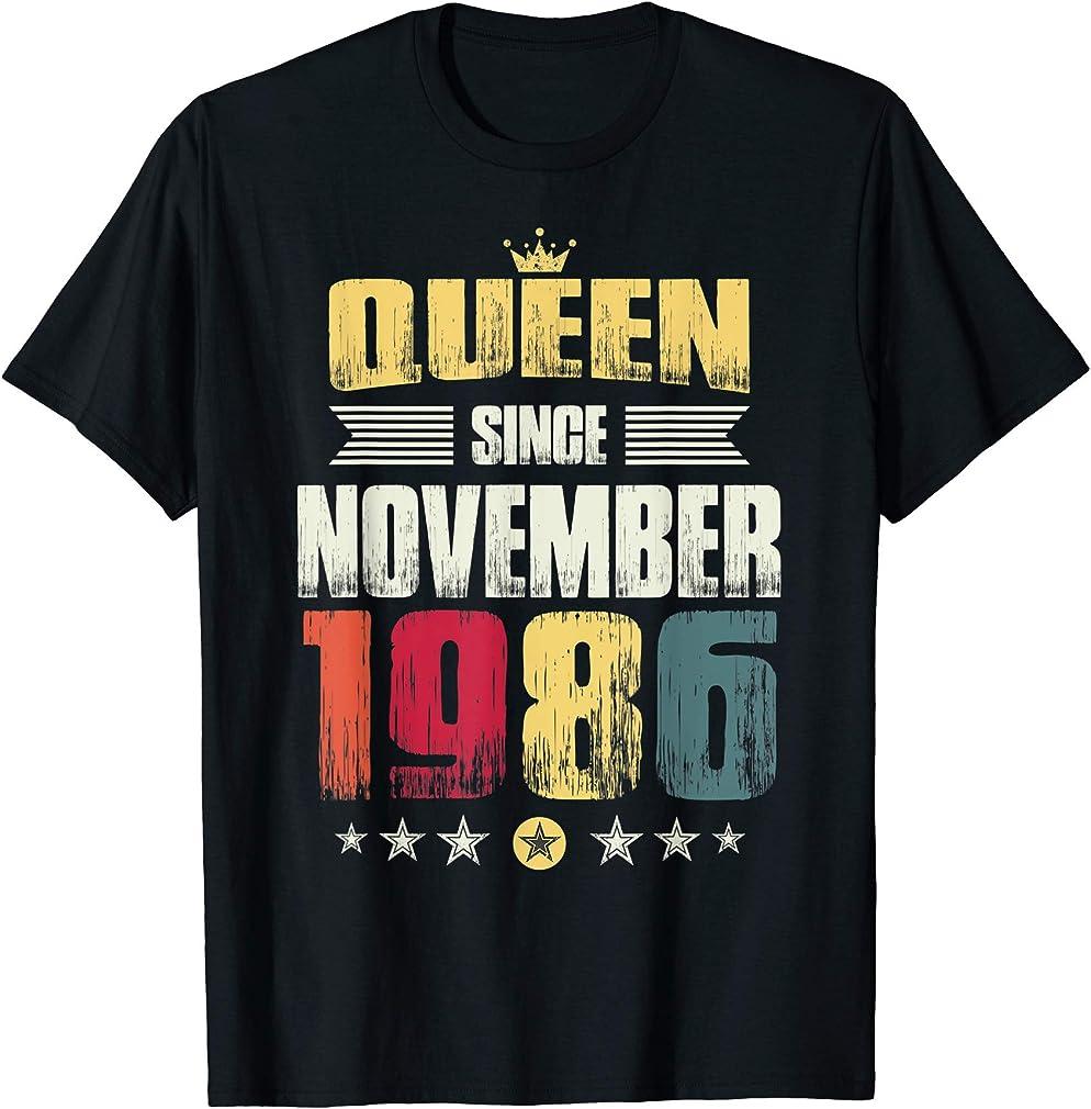 33rd Birthday Party Gift Women Queen Since November 1986 T-shirt