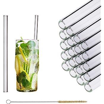 HALM Pajitas de cristal reutilizables ecológicas - 20 piezas de 20 cm + cepillo de limpieza ecológico - apto para lavavajillas - Sostenible - Pajitas de vidrio para cóctel, batido, smoothie