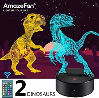 Dinosaur Night Light for Kids-3D Dinosaur Lamp 16 Colors Optical Illusion Touch & Remote Control with 2 Acrylic Flats Best Christmas Birthday New Year Gifts for Boys Girls Kids Baby (2 Dinosaurs)