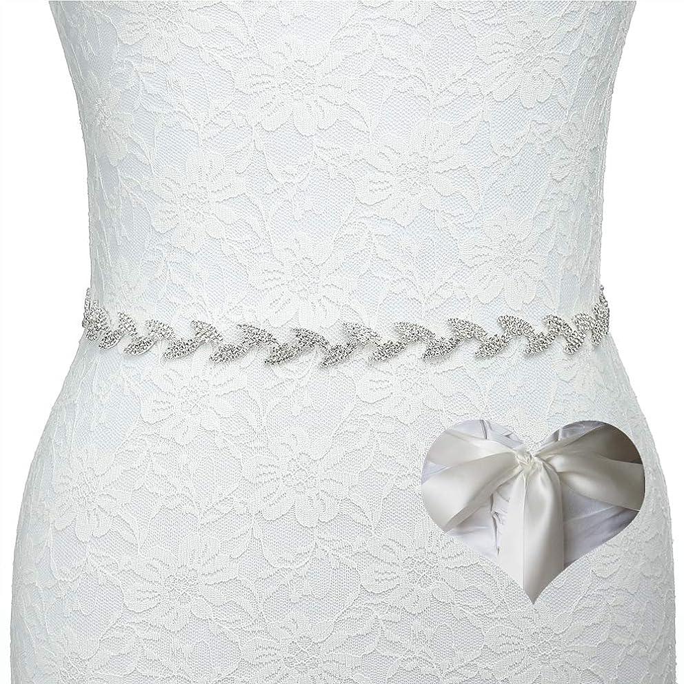 Kunlai Leaf Bridal Crystal Rhinestone Wedding Dress Sash Belt With Ribbon