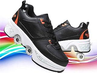 Hmlopx Deformation parkour skor dubbelrad vuxen barn justerbar fyra runda löparskor rullskridskor lämpliga för utomhus fri...