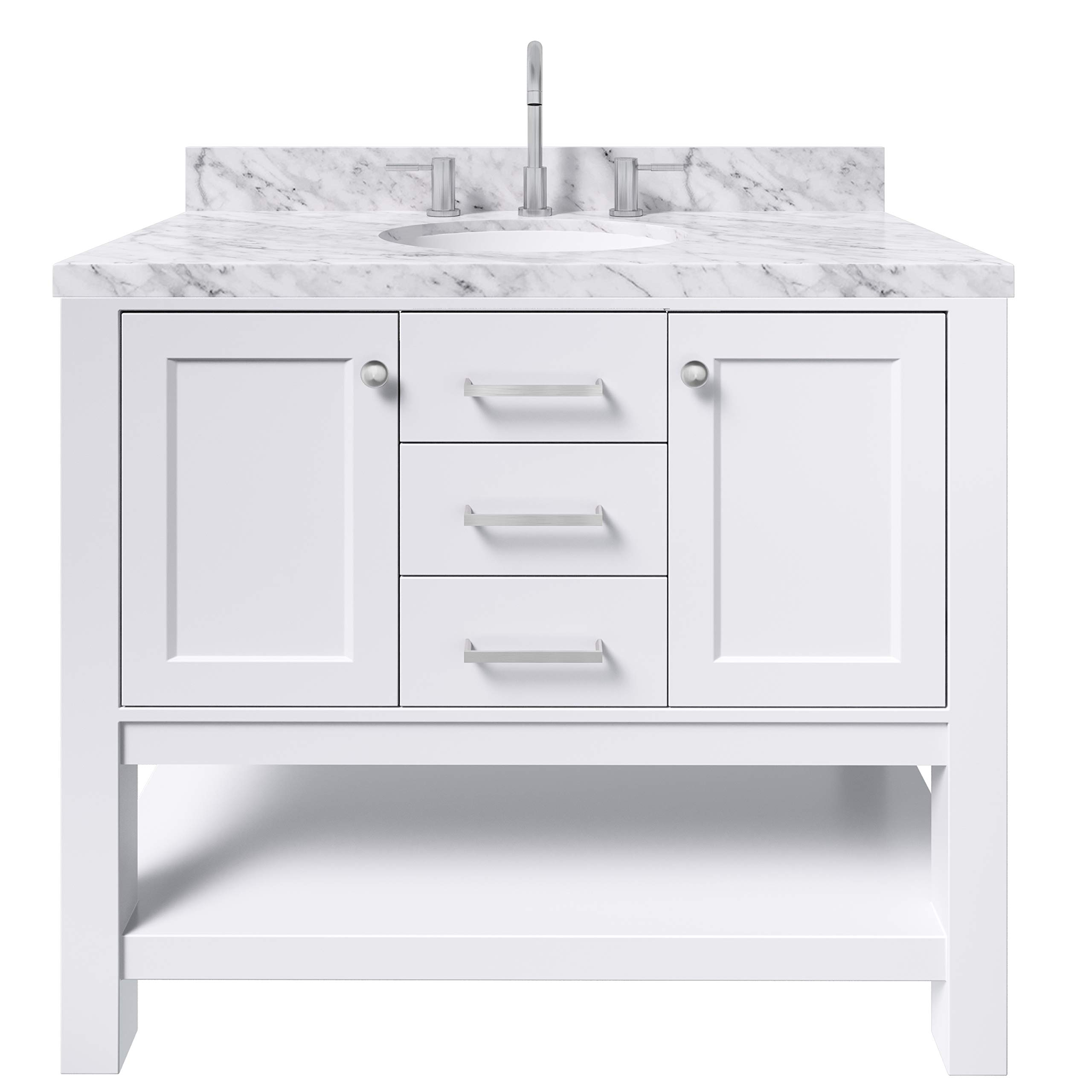 Amazon Com Ariel Bayhill 43 Inch Bathroom Vanity In White W 1 5 Edge Carrara Marble Countertop Oval Sink 2 Soft Closing Doors And 2 Dovetail Full Extensions Drawers Open Storage