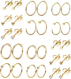 14Pairs Stainless Steel Cartilage Earrings for Women Girls Hoop Earrings Ball CZ Tragus Helix Conch Daith Piercing Jewelry