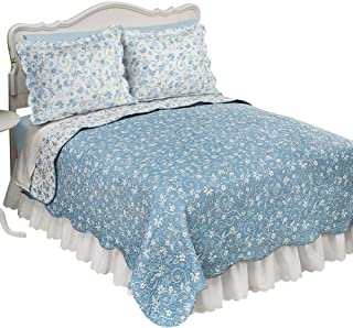 Collections Etc Reversible Floral Quilt with Scalloped Edges and Two-Tone Design, Blue, Full/Queen