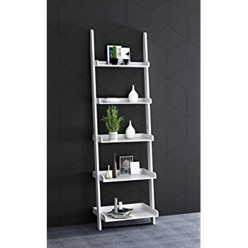 NXDA Shelf Ladder 4-Tier Bookshelf Storage Rack Shelves Display Wall Mounted Rack Shelves for Bathroom Kitchen Bedroom Office Sloping Stable Leaning Against The Wall White