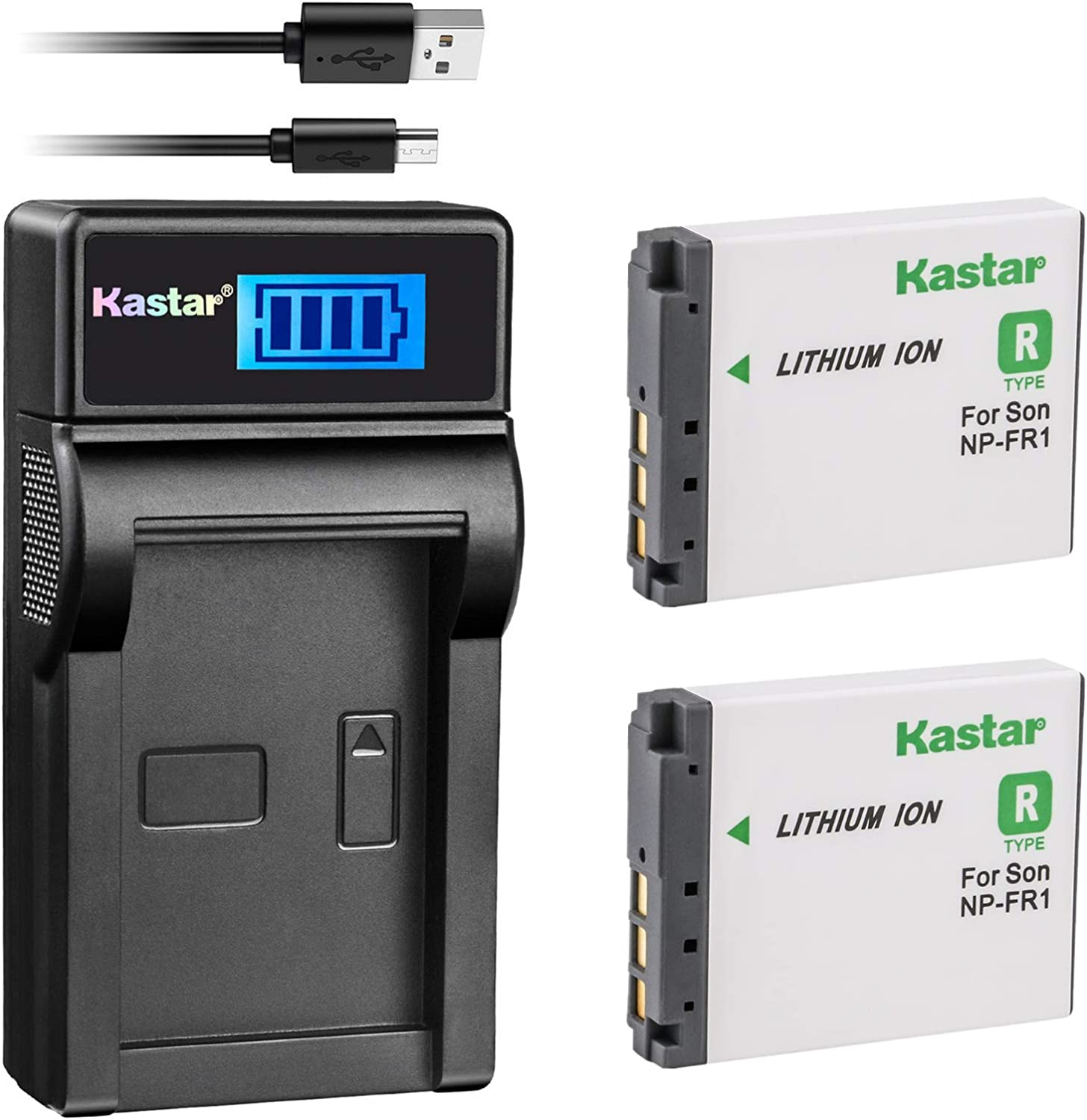 Kastar Battery X2 LCD USB Charger NEW before selling ☆ NP-FR1 Sony 2021 new BC-TR1 T for