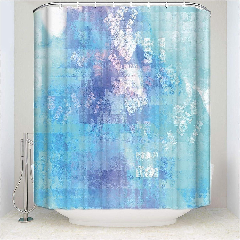 AMDXD Polyester Reine Farbe Muster Vorhang für Badezimmer Blau Weiß ...