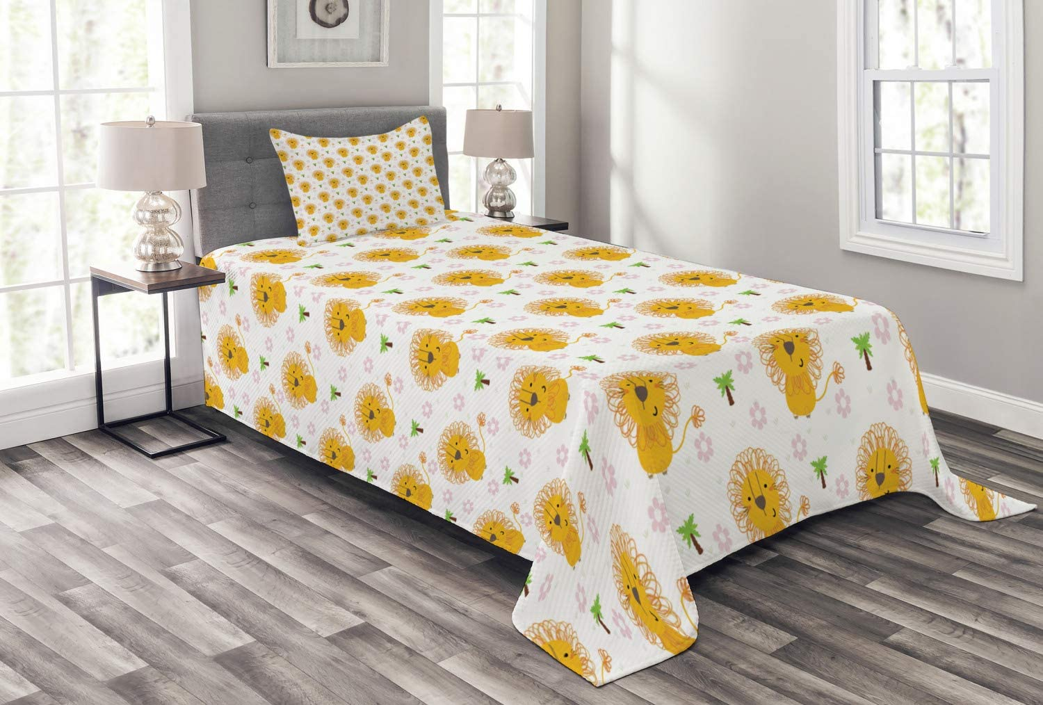 Lunarable Lion Bedspread Childrens Animal Style Ranking TOP5 Forest Cartoon Ranking TOP20